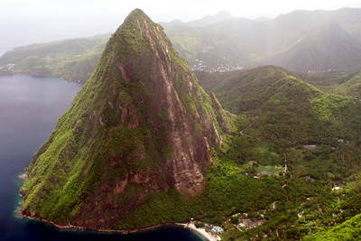 The Pitons, Jalousie Plantation Beach, Saint Lucia, Windward Islands, Caribbean Sea