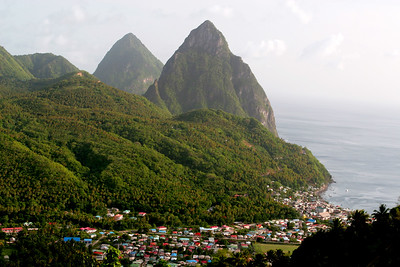 The Pitons, Soufriere, Saint Lucia, Windward Islands, Caribbean Sea