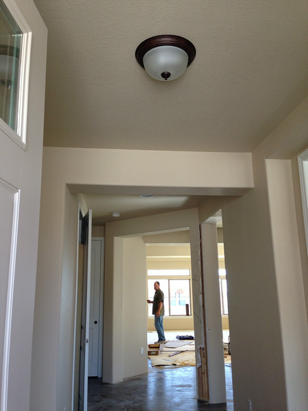 Standard light in entry way.