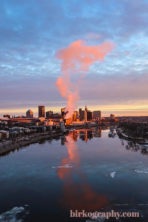 Golden hour Christmas Eve sunrise.  Saint Paul, MN