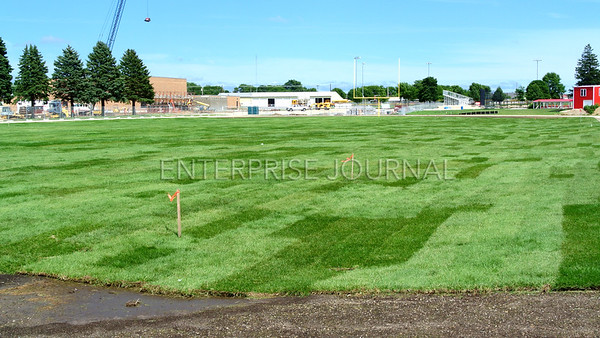 A view of the finished sod on the new football field that was laid over the course of a few days. Nine total semi loads were brought in to complete the field. (EJ Photo/ Colby Fossey)