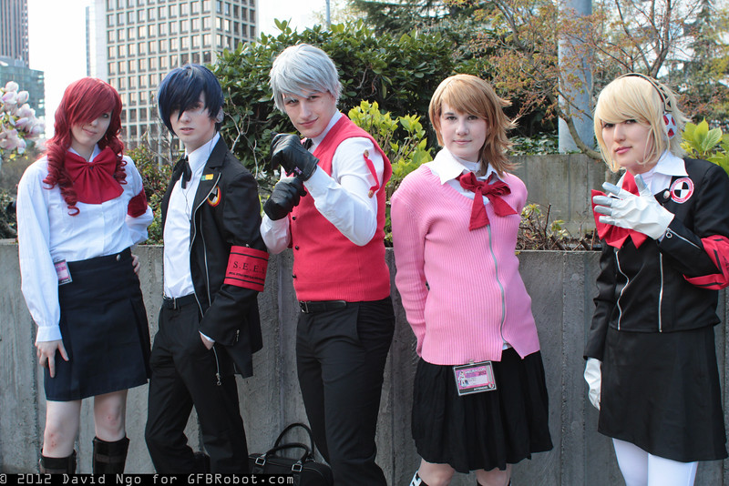 Mitsuru Kirijo, Arisato Minato, Akihiko Sanada, Yukari Takeba, and Aigis