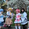Sayaka Miki, Mami Tomoe, Madoka Kaname, Homura Akemi, and Kyoko Sakura