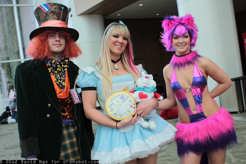 Mad Hatter, Alice, Cheshire Cat, and White Rabbit