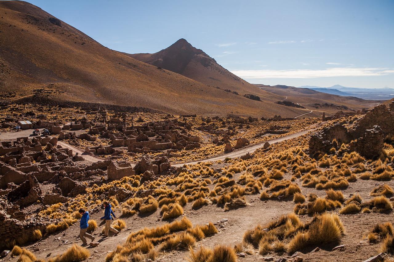 Walking around Pueblo Fantasmo - ghost town on the Salar de Uyuni tour, Bolivia