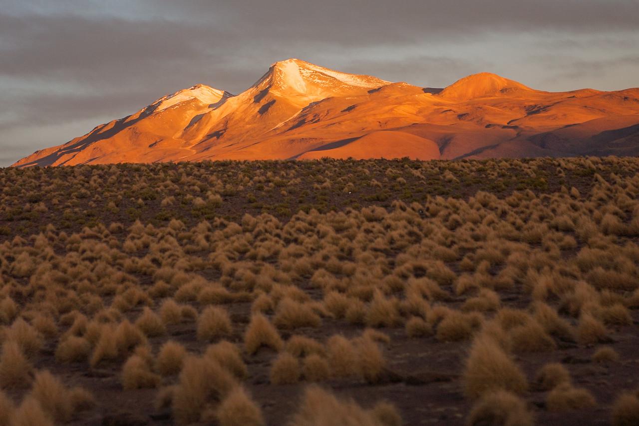 Sunset and the volcanic mountain, Uturuncu day 1 of Salar de Uyuni tour
