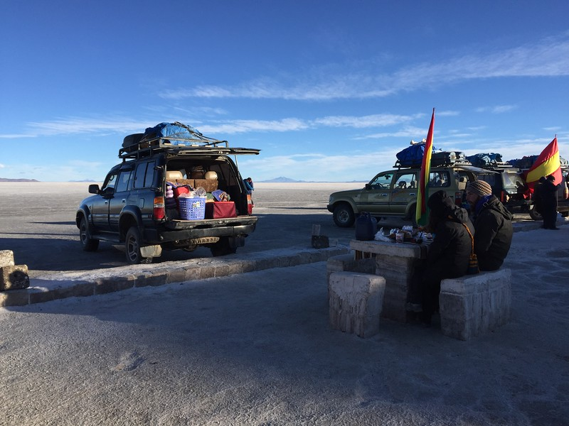 Breakfast on Salar de Uyuni, Bolivia