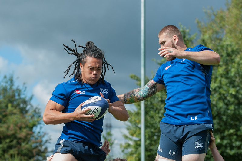 Sale Sharks TJ Ioane and Sale Sharks Laurence Pearce