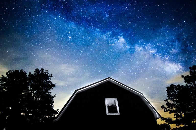 Milky Way over barn in Alabama