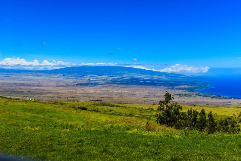 Over looking ocean and Volcano in Hawaii