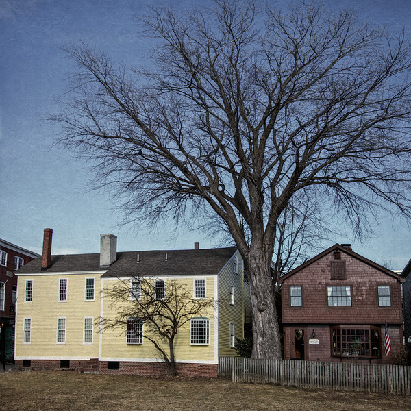 New England Landmarks: Heritage building c. 1830 and Thomas Downing Cooper Shop, c. 1701 Salem, Salem Maritime National Historic Site, Essex County, Massachusetts