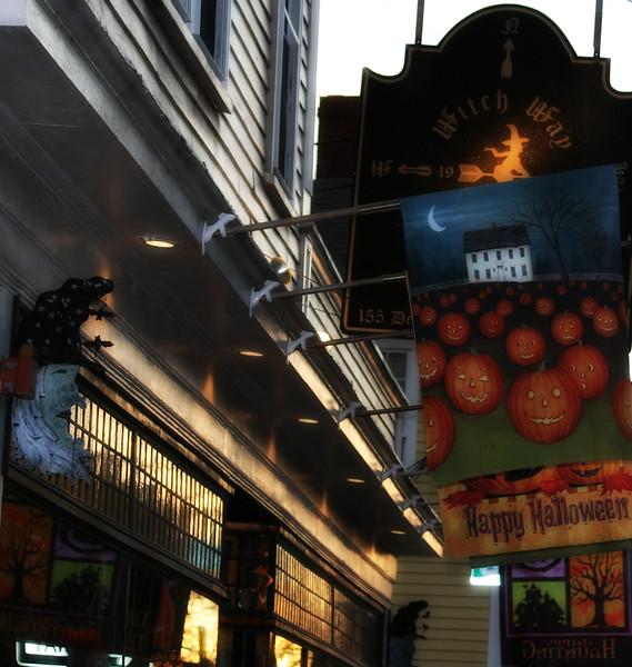 Festive Halloween Storefront on Derby Street in Salem