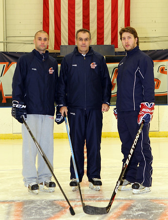 Salem State Men's Hockey Assistant Coach Andrew O'Neill, Salem State Men's Hockey Head Coach William O'Neill, Salem State Men's Hockey Assistant Coach Gregory Hansen