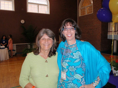Jenny and Nancy Sumner (Raleigh Salem alum) visit in Bryant Hall after convocation.