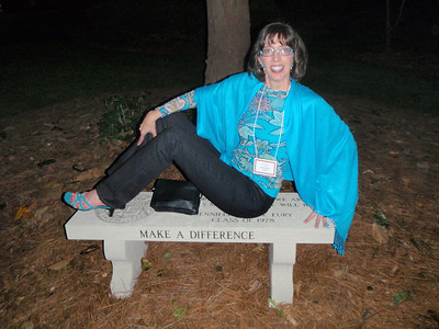 Jenny at her bench after the Reunion Kick-Off party
