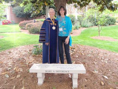 Dr. Susan Pauly (Salem College President) celebrates Jenny's bench after convocation
