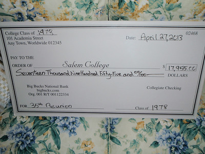 Check presented at Reunion luncheon for C'78