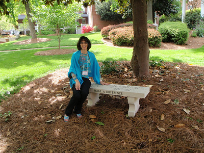 Jenny at bench on Friday of Reunion weekend