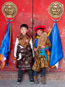 Young boys all dressed up for the shaman festival