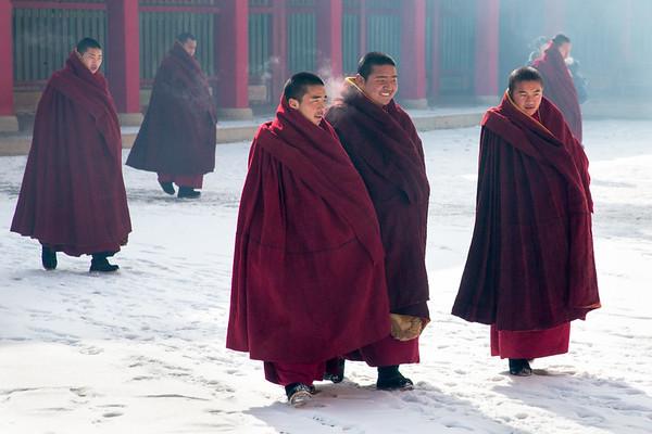 Monks breathing in winter