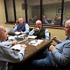 Sales team meeting with consignor Dermot Carty. (L-R):  John Henderson, Scott Hazelton, Scott Caldwell, Justin Holmberg, Gabby Gaudet, Kurt Becker, Ryan Mahan and consignor Dermot Carty  Jan. 13, 2020 Keeneland in Lexington, KY. Photo: Anne M. Eberhardt