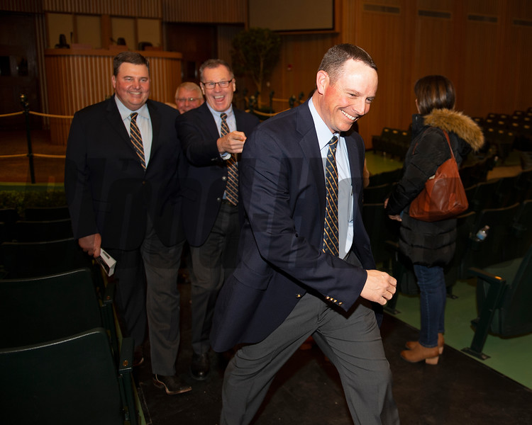 (Front Jesse Bolin, with l-r, Mitchell Armitage and Roger Spencer) Enjoying. a moment after the conclusion of the first session of the Keeneland January sales on Jan. 13, 2020 Keeneland in Lexington, KY. Photo: Anne M. Eberhardt