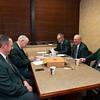 Bidspotters relaxing in the break room (l-r, Jesse Bolin, E. C. Larkin Jr., Roger Spencer, Ralph Means, Wayne Lynn, on Jan. 16, 2020 Keeneland in Lexington, KY. Photo: Anne M. Eberhardt