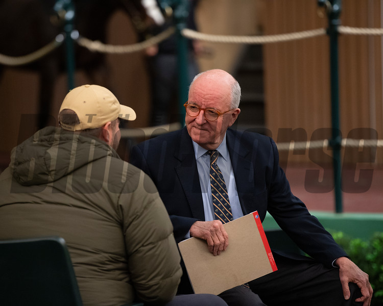 Ryan Mahan with buyer after coming off his shift on the podium<br /> Keeneland January Horses of all ages sales on<br /> Jan. 17, 2020 Keeneland in Lexington, KY. Photo: Anne M. Eberhardt