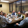 Sales team meeting with consignor Dermot Carty. (L-R):  John Henderson. (partially hidden), Scott Hazelton, Scott Caldwell, Justin Holmberg, Gabby Gaudet, Kurt Becker, Ryan Mahan and consignor Dermot Carty on   Jan. 13, 2020 Keeneland in Lexington, KY. Photo: Anne M. Eberhardt