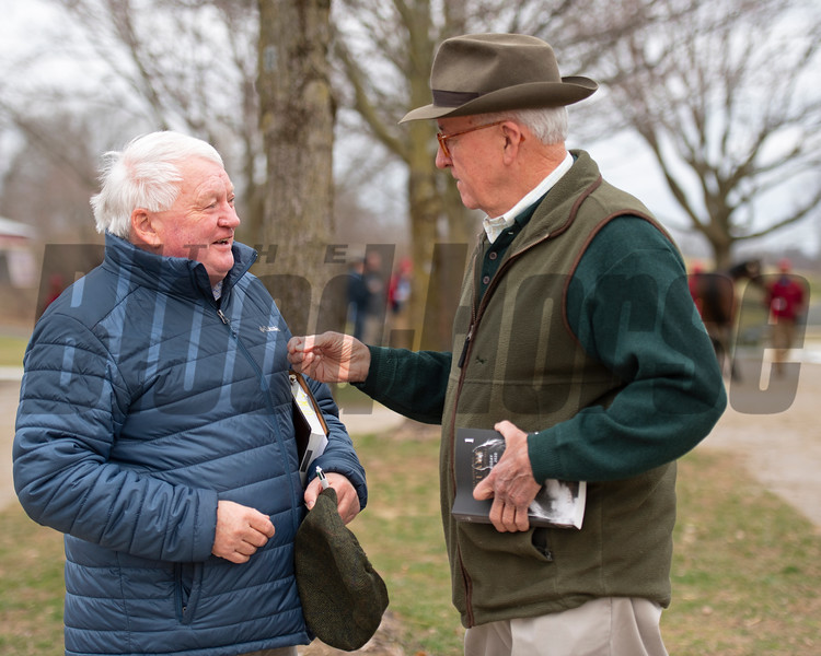(L-R): Gerry Dilger, Ryan Mahan. As a buyer as well as consignor, Dilger chatted with Ryan Mahan while looking at stock. Scenes during the Keeneland January sales on Jan. 11, 2020 Keeneland in Lexington, KY. Photo: Anne M. Eberhardt