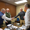 (L-R): Kurt Becker and Ryan Mahan with consignor Joe Seitz and announcer John Henderson after discussing Seitz' consignment Keeneland January Horses of all ages sales on Jan. 14, 2020 Keeneland in Lexington, KY. Photo: Anne M. Eberhardt
