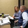 Gabby Gaudet discussing sales' horses with Kurt Becker on Jan. 13, 2020 Keeneland in Lexington, KY. Photo: Anne M. Eberhardt