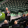 Bob Elliston talks with auctioneers and bidspotter before the session on Jan. 13, 2020 Keeneland in Lexington, KY. Photo: Anne M. Eberhardt