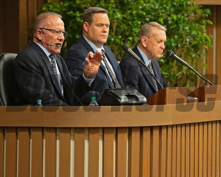 (L-R): Auctioneers Cris Caldwell, Justin Holmberg, and announcer John Henderson on Jan. 15, 2020 Keeneland in Lexington, KY. Photo: Anne M. Eberhardt