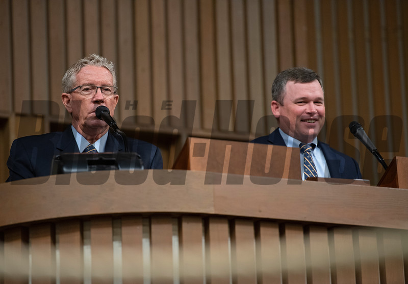 (L-R): Scott Caldwell and Wade Cunningham<br /> Keeneland January Horses of all ages sales on Jan. 17, 2020 Keeneland in Lexington, KY. Photo: Anne M. Eberhardt
