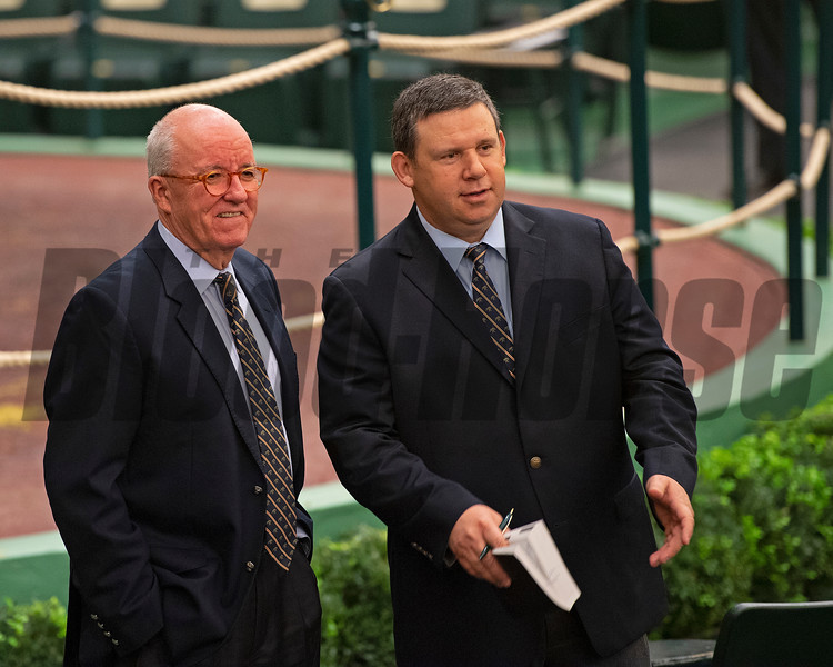 (L-R): Ryan Mahan with bidspotter  Ty McClary<br /> Keeneland January Horses of all ages sales on<br /> Jan. 17, 2020 Keeneland in Lexington, KY. Photo: Anne M. Eberhardt