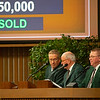 (L-R): Scott Caldwell and Ryan Mahan as Kurt Becker announces next horse. Keeneland January Horses of all ages sales on Jan. 14, 2020 Keeneland in Lexington, KY. Photo: Anne M. Eberhardt