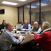 Sales team meeting with consignor (L-R):  John Henderson. , Scott Hazelton, Scott Caldwell, Justin Holmberg, Gabby Gaudet, Kurt Becker, Ryan Mahan and consignor Pam Robinson with Brandywine on Jan. 13, 2020 Keeneland in Lexington, KY. Photo: Anne M. Eberhardt
