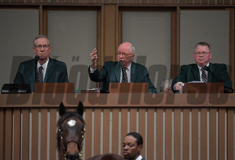 (L-R): Scott Caldwell, Ryan Mahan, and Kurt Becker. Keeneland January Horses of all ages sales on Jan. 14, 2020 Keeneland in Lexington, KY. Photo: Anne M. Eberhardt