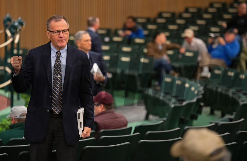 Bidspotters (Roger Spencer front left) in action at Keeneland Keeneland January Horses of all ages sales on Jan. 15, 2020 Keeneland in Lexington, KY. Photo: Anne M. Eberhardt