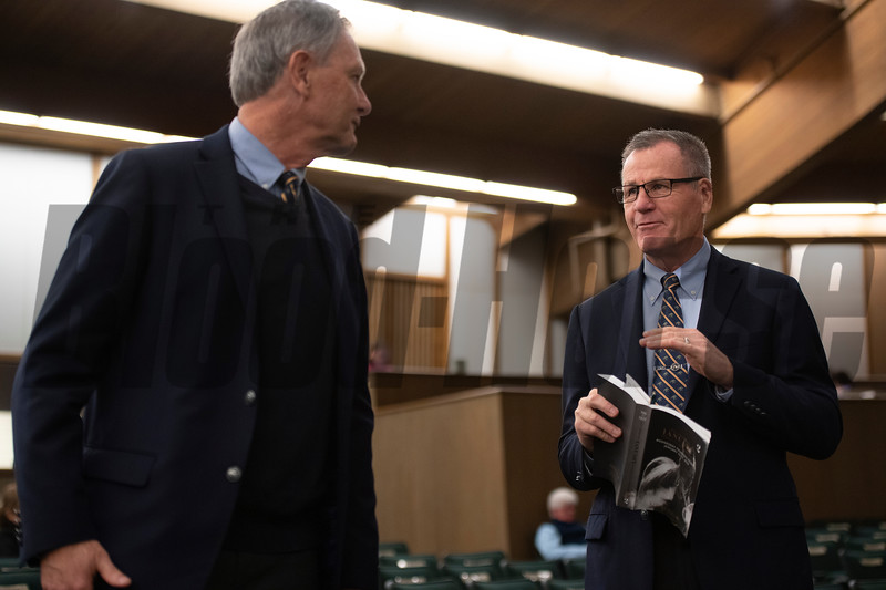 (L-R): bidspotters Mark Harman and Roger Spencer between sales Keeneland January Horses of all ages sales on Jan. 15, 2020 Keeneland in Lexington, KY. Photo: Anne M. Eberhardt