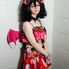 Salford Comic Con 2017, Cosplay, Female, Woman, Cosplayer, LoveLive, Kotori, Devil Kotors, Dress, Skirt, Suspenders, High Heels, Top, Necklace, Headress, Horns, Wings, Lace, Flower Print, Wig, Pink, Red, Black, Anime, Japan