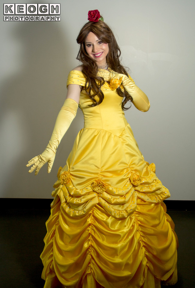 Ball Room Dress, Beauty & The Beast, Belle, Cosplay, Cosplayer, Diamonds, Disney, Dress, Female, Flower, Gloves, Necklace, Princess, Rose, Ruffles, Salford Comic Con 2017, Woman, Gold, Red