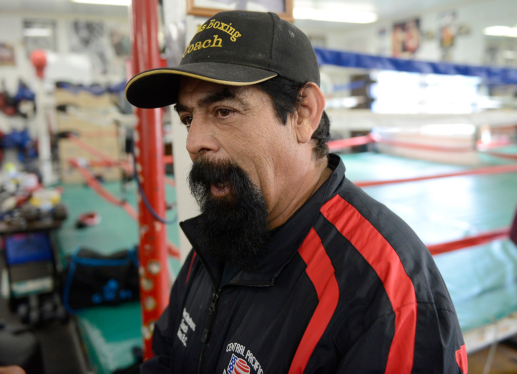 . Boxing coach Robert Medrano at the Salinas Boxing Club on Thursday, March 22, 2018.  (Vern Fisher - Monterey Herald)