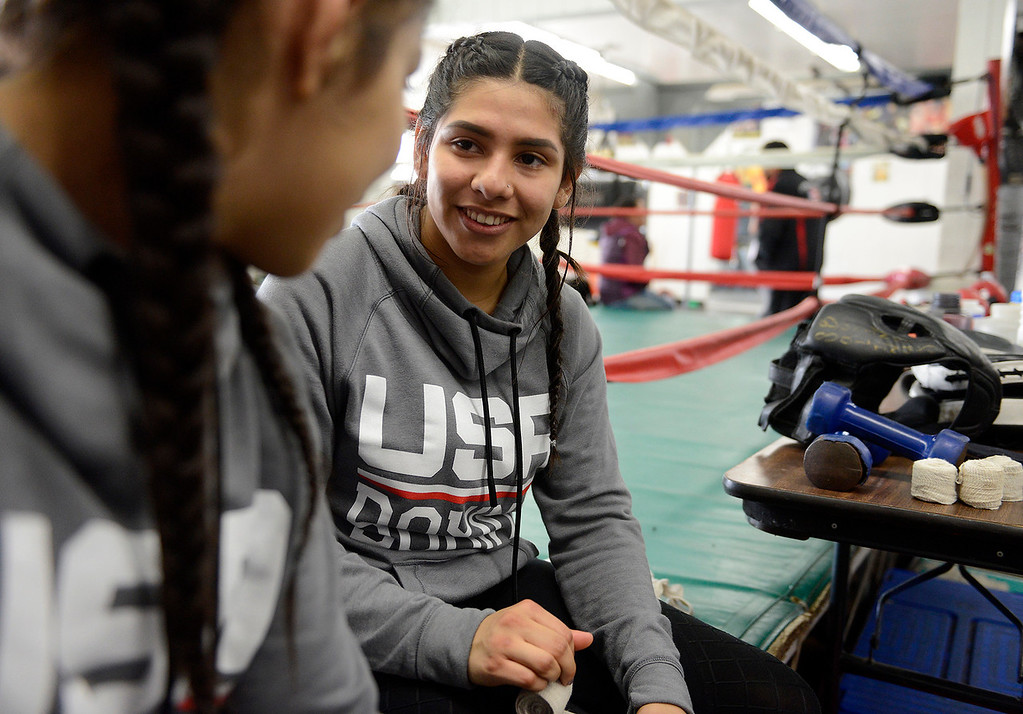 . Salinas Boxing Club fighters Maria Jardines, 14, and Iris Rivera, 17, at the Salinas Boxing Club on Thursday, March 22, 2018.  (Vern Fisher - Monterey Herald)