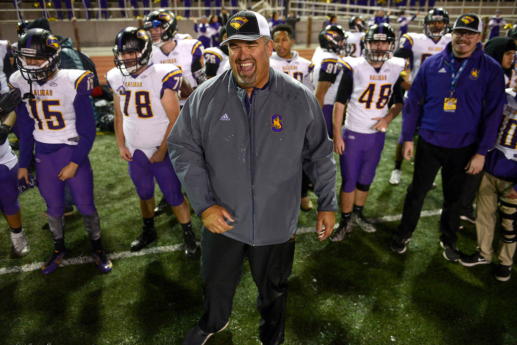 . Salinas High head football coach Steve Zenk celebrates their 25-18 victory over Milpitas High during their Central Coast Section Open Division I championship football game in San Jose on Friday, December 1, 2017.  (Vern Fisher - Monterey Herald)