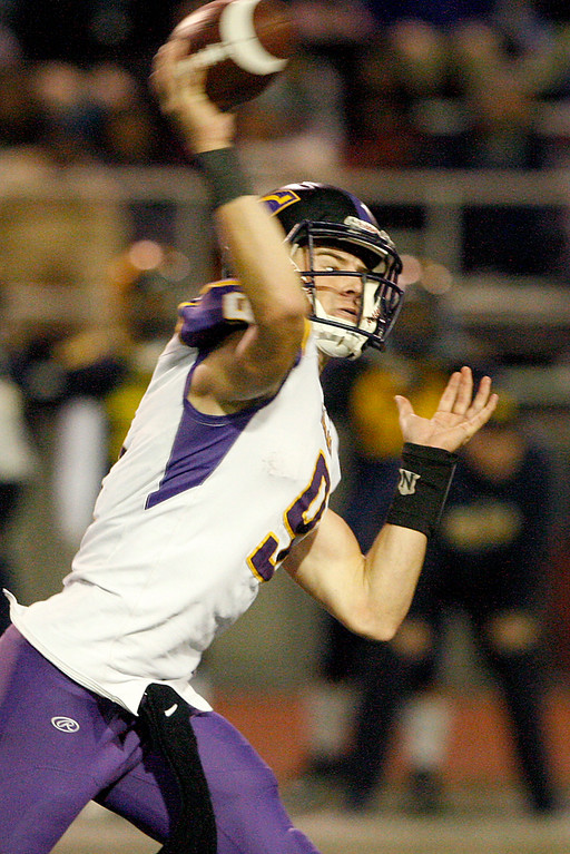 . Salinas High\'s Brett Reade (9) attempts a pass in the second half of their Central Coast Section Open Division I championship football game against Milpitas High in San Jose on Friday, December 1, 2017.  Salinas High won the championship 25-18.  (Vern Fisher - Monterey Herald)