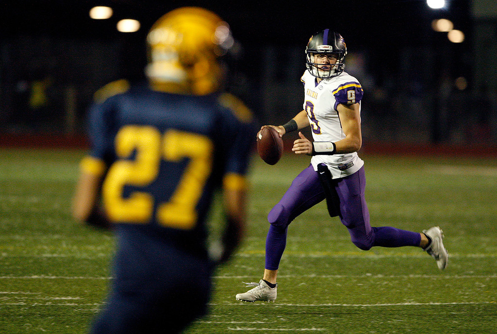 . Salinas High\'s Brett Reade (9) in the first half of their Central Coast Section Open Division I championship football game against Milpitas High in San Jose on Friday, December 1, 2017.  Salinas High won the championship 25-18.  (Vern Fisher - Monterey Herald)