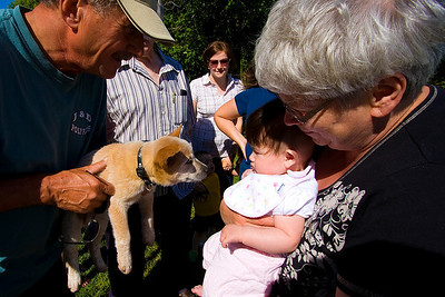 Julia getting a close look at Ryan's friendly puppy