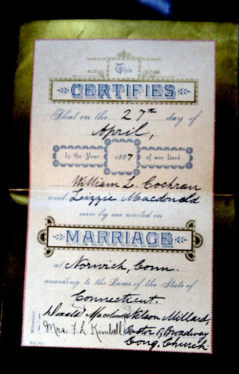 . As part of an exhibit on wedding dress at the Garrison House in Chelmsford is this wedding certificate. SUN/David H. Brow